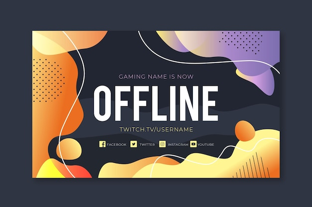 Gradient dotted liquid design twitch offline banner