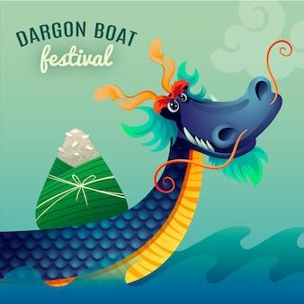 Градиент лодки дракона иллюстрации