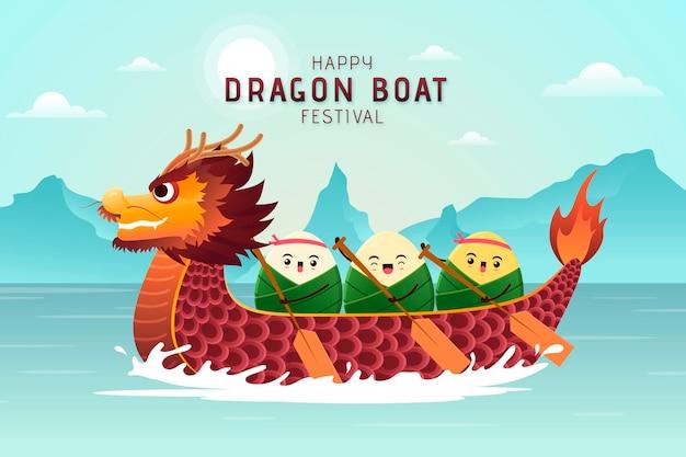 グラデーションドラゴンボートのzongzi背景