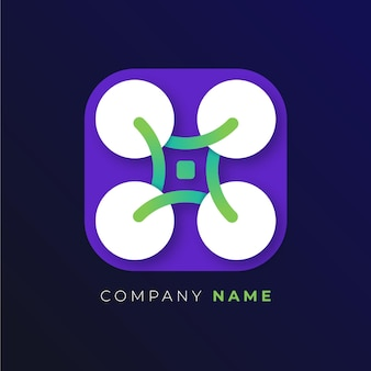 Gradient drone logo template