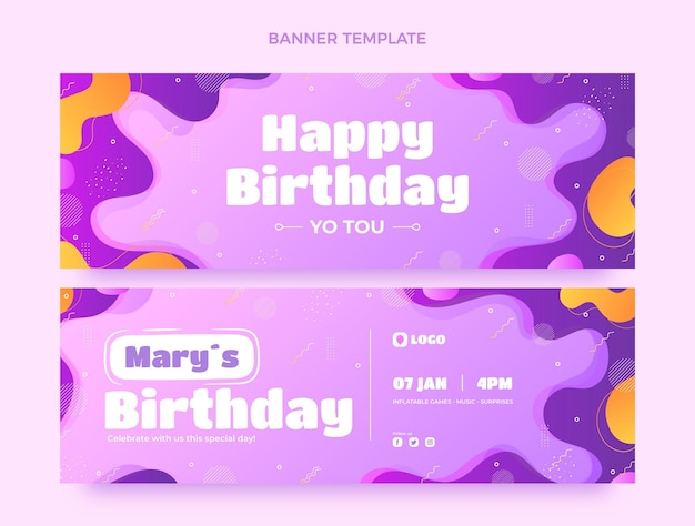 Gradient dynamic birthday horizontal banners