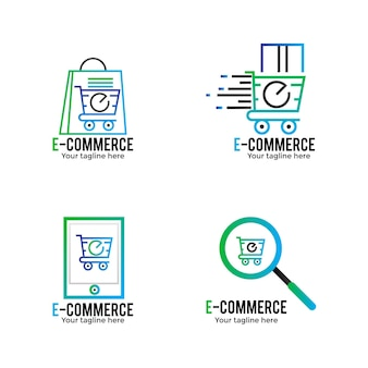 Коллекция градиентных логотипов электронной коммерции