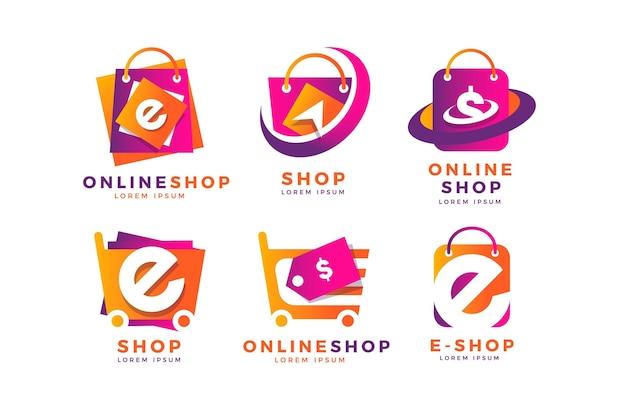 Collezione di logo e-commerce sfumato