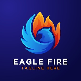 Gradient eagle fire logo template