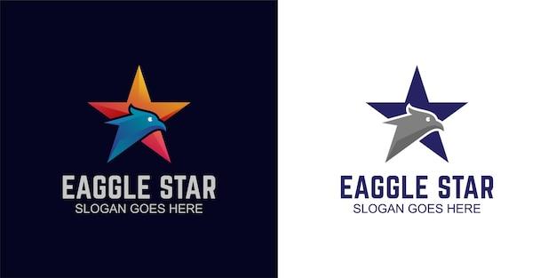 별 기호 로고 디자인 및 평면 버전이 있는 그라데이션 독수리 머리