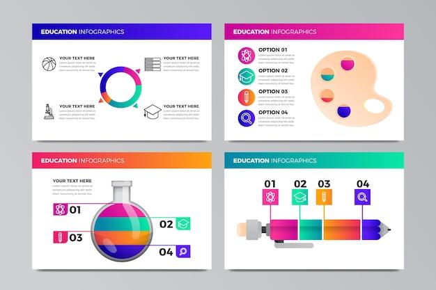Set di infografica educazione gradiente