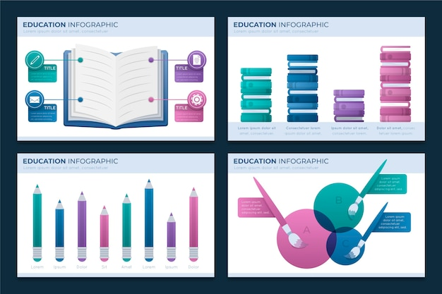 Gradient education infographics template