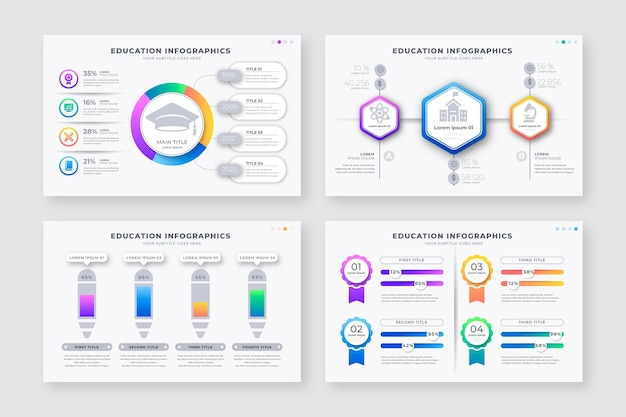 Gradient education infographics