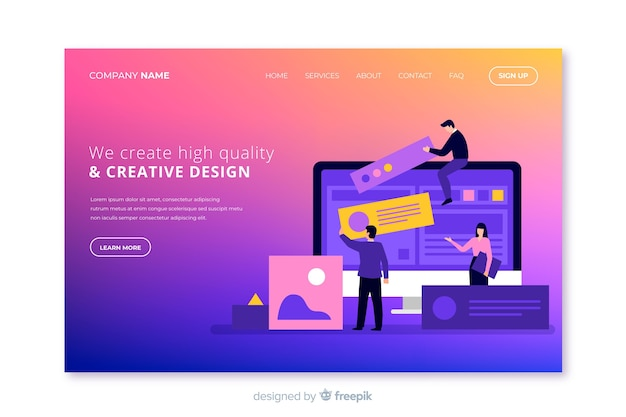 Gradient effect landing page
