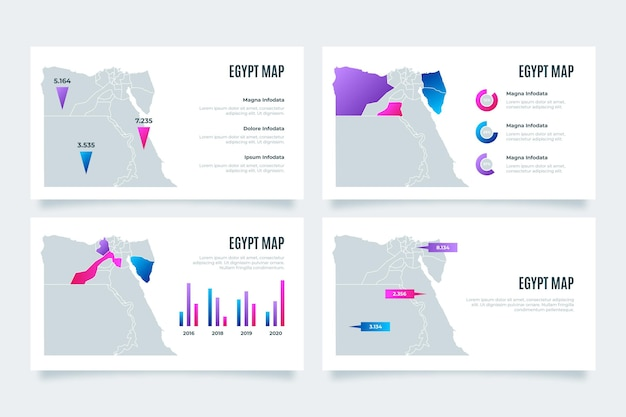Gradient egypt map infographic