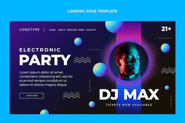 グラデーション電子パーティーのランディングページ