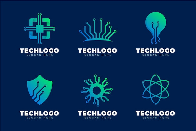 Коллекция логотипов градиентной электроники