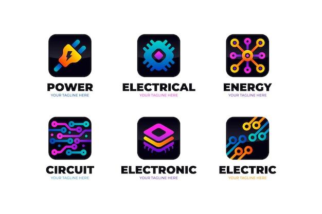 Шаблоны логотипов градиентной электроники