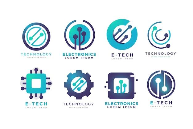 Набор логотипов градиентной электроники
