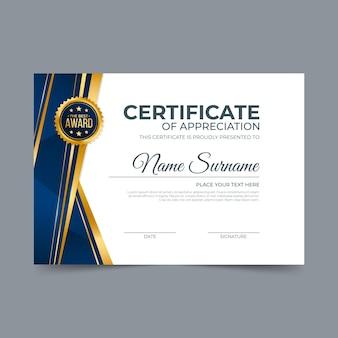Certificato di apprezzamento elegante sfumato