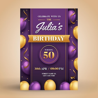 Gradient elegant balloons birthday invitation