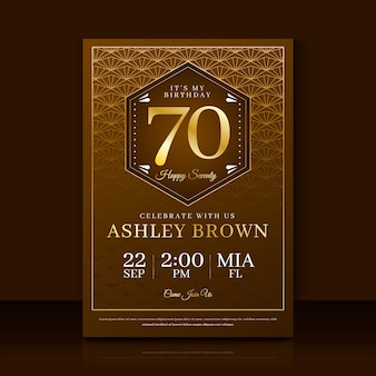 Gradient elegant birthday invitation