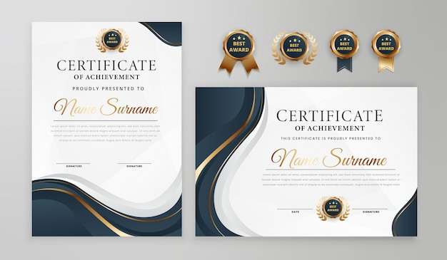 Градиент элегантный синий и золотой сертификат со значком и бордюром вектор шаблон a4