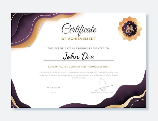 Gradient elegant certificate of achievement template