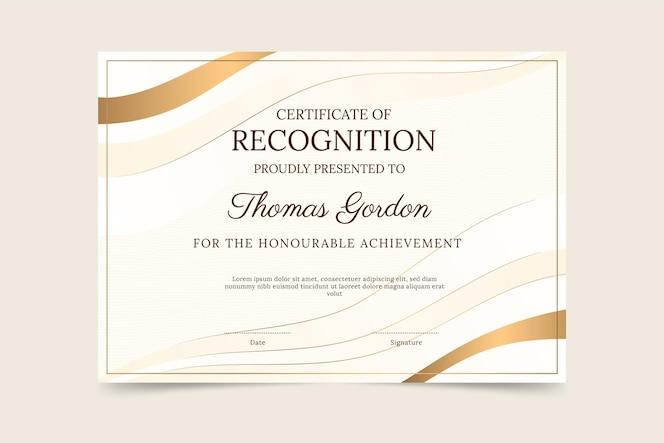 Градиент элегантный сертификат признания шаблона