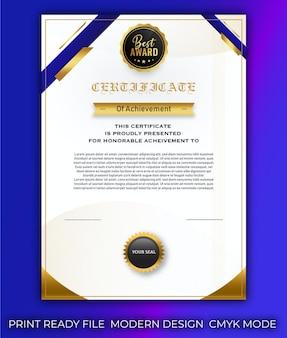 Gradient elegant certificate template design premium vector