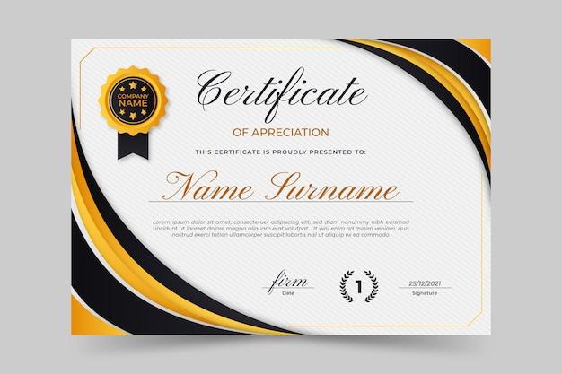 Modello di certificato elegante gradiente