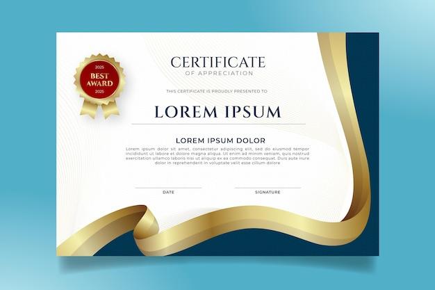 Gradient elegant certificate template Free Vector