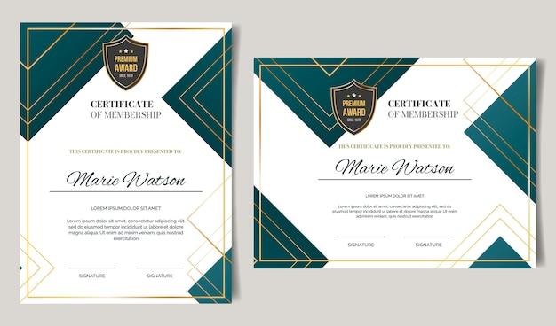 Градиент элегантный шаблон сертификата