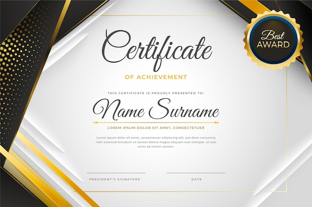 Градиентный элегантный сертификат с золотыми деталями