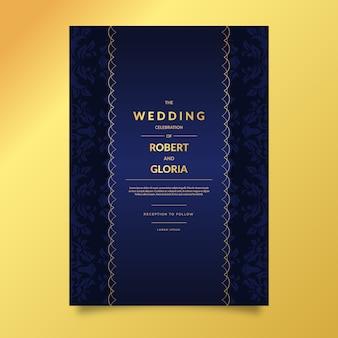 Gradient elegant damask wedding invitation template