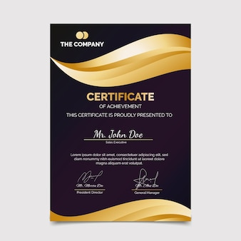 Modello di certificato moderno elegante gradiente