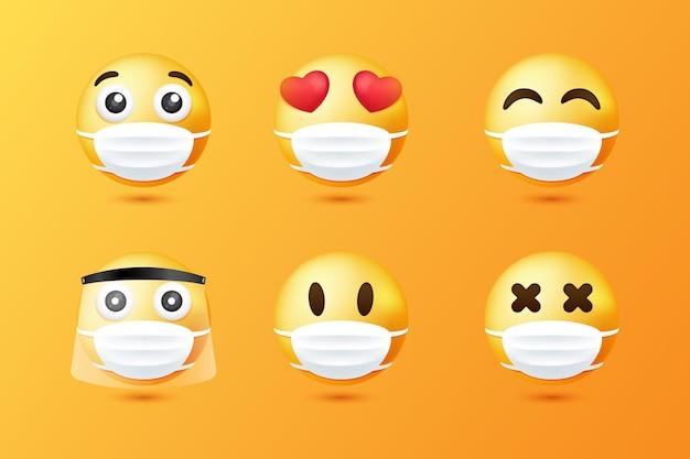 Emoji sfumate con collezione di maschere per il viso
