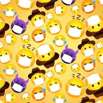 Emoji sfumate con motivo a maschera facciale