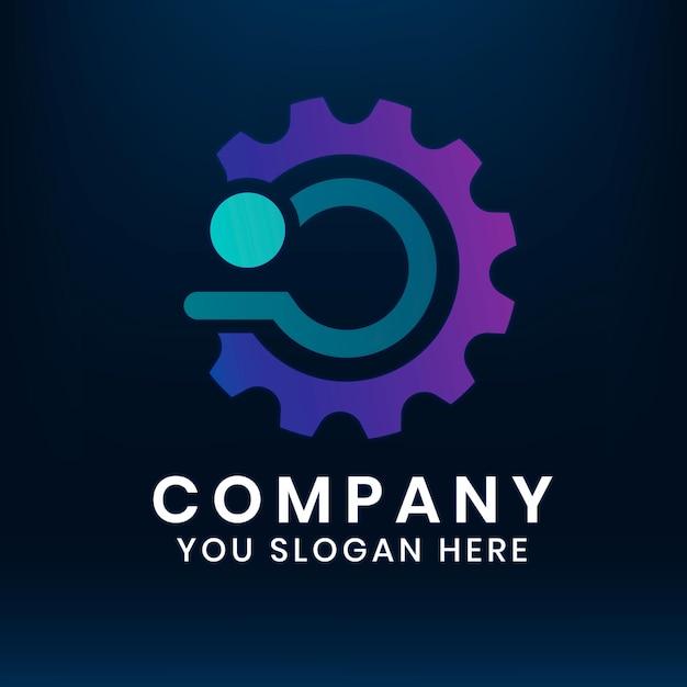 Gradient engine editable slogan vector icon design