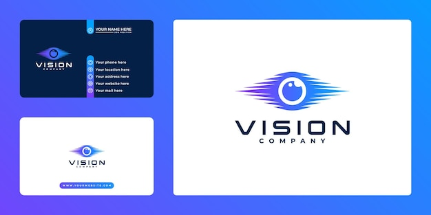 Gradient eye vision technology logo and business card