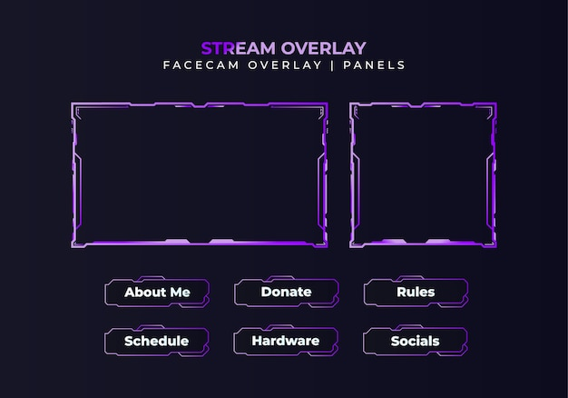 Gradient facecam overlay, panels, twitch package design for stream