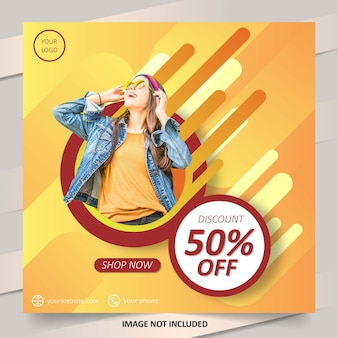 Gradient fashion social media sale post template
