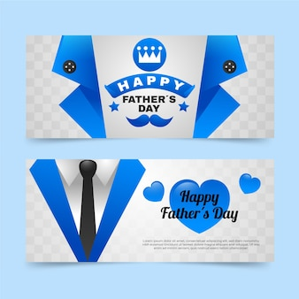 Gradient father's day banners set