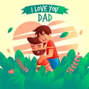 Gradient father's day illustration