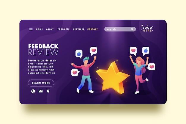 Modello di home page di feedback gradiente