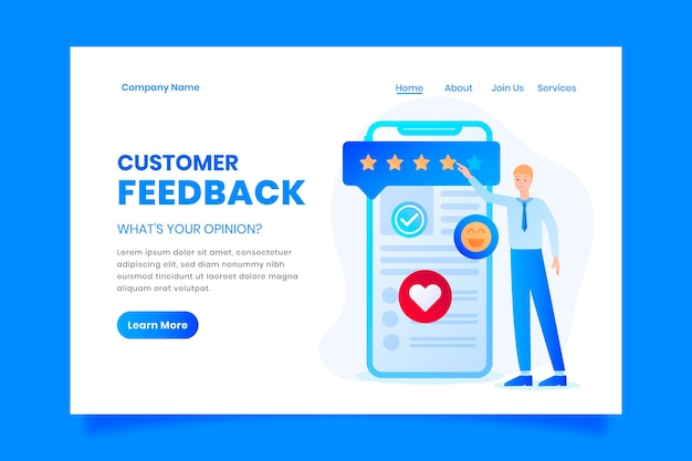 Gradient feedback landing page template
