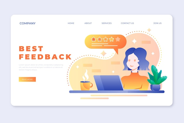 Gradient feedback landing page template