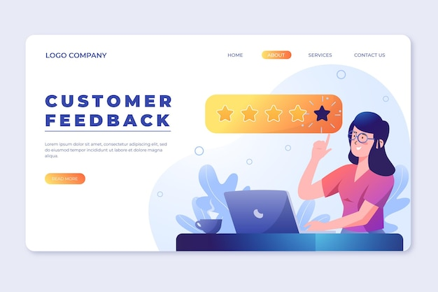 Pagina di destinazione del feedback gradiente
