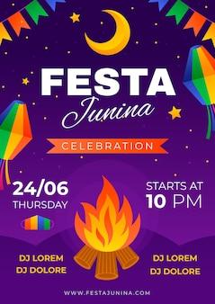 Gradient festa junina vertical poster template