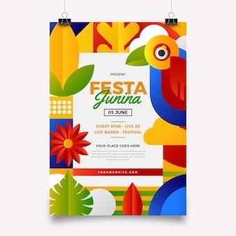 Градиент festa junina вертикальный шаблон плаката