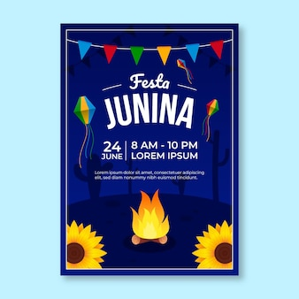 Modello di poster verticale gradiente festa junina