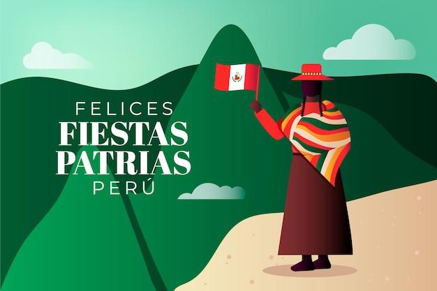 Gradient fiestas patrias de peru illustration
