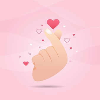 Gradient finger heart concept