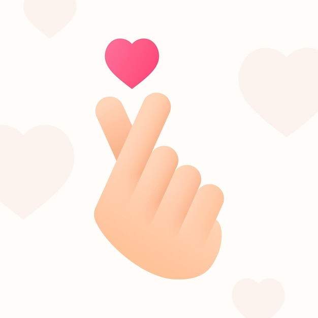 Gradient finger heart concept