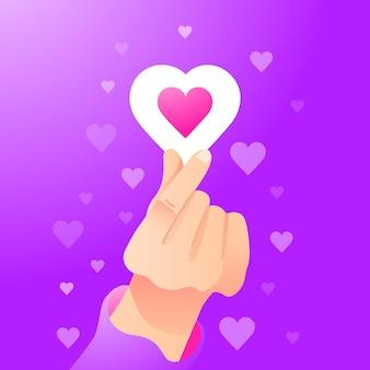 Gradient finger heart illustration